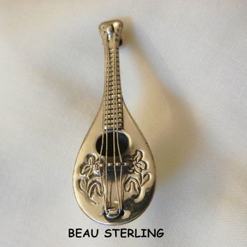 Exquisite vintage Beau Sterling Mandolin Brooch