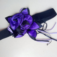 Purple flower headband,purple and black ribbon and flower headband, party, gift, unique item.