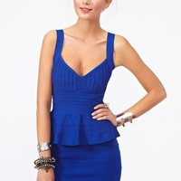 Peplum Bandage Dress - Blue  in  Clothes at Nasty Gal