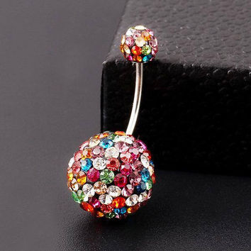 Hard Candy Colorful Crystal Navel Ring Stainless Steel Piercing Belly Button Ring Body Fashion Jewelry Summer Style Women