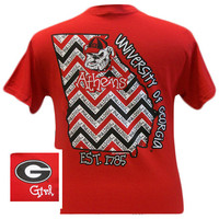New Georgia Bulldogs State Chevron Athens Girlie Bright T Shirt