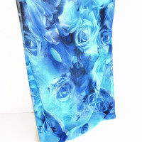 Blue rose chiffon scarf ,shinning infinity scarf ,women scarf ,floral print fashion scarf ,gift for her for mom , best selling item scarf