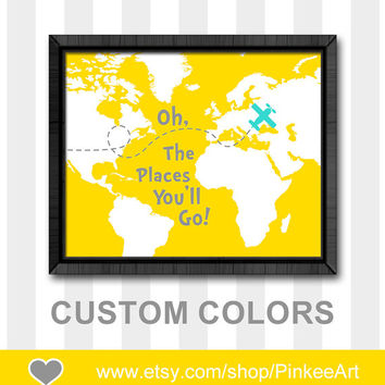 oh the place you'll go nursery map dr seuss quote print world map nursery boy nursery art boys playroom decor toddler art nursery gift idea