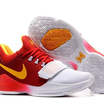 KUYOU B182 Nike Zoom Paul George PG1 Flyknit Breathable Signed Caliga Basketball Shoes Red Yellow White