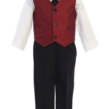 Boys Red & Black Pants Set w. Jacquard Vest 6m-7