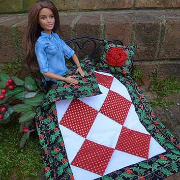 Barbie Christmas, Blythe Blanket, Holly Quilt, Fashion Doll Accessories, Throw Pillow, 12 Inch Doll Blythe Holiday Décor Licca Takara Pullip