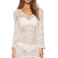 Sexy Summer Casual White Dress Hollow Out Long Sleeve Swimwear Womens Crochet Beach Wear Cover Up Dresses Swimsuit LC41125