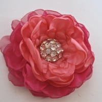 Fuchsia Chiffon with Coral Satin Flower Hair Clip Wedding Bride Bridesmaid Mother of the Bride Prom with a Beautiful Rhinestone Accent