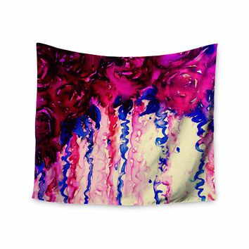 "Ebi Emporium ""Petals On Parade - Oxblood and Blue"" Red Pink Blue Painting Wall Tapestry"