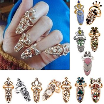 1PC Crystal Fake Nail Stylish Exquisite Ring Jewelry Exquisite Diamond Nail Cover Tail Ring Joint Ring Crown Armor Accessories