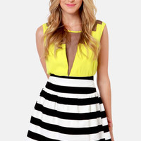 Expand Your Horizon-tal Striped Black and White Skirt