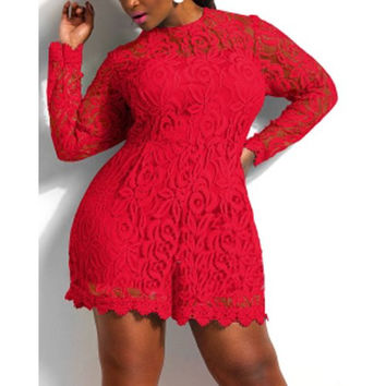 Plus Size Long Sleeve Lace Solid Color Romper
