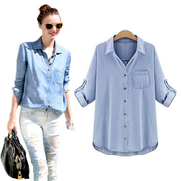 vetement femme women blouses 2016 blue denim shirt loose plus size woman long sleeve blouse women's tops blusas y camisas mujer