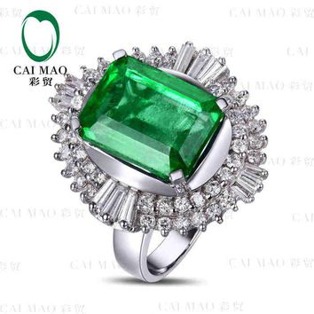 CaiMao 6.52 ct Natural Emerald 18KT/750 White Gold  1.28 ct Full Cut Diamond Engagement Ring Jewelry Gemstone colombian