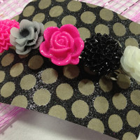 Pink and Black Hair Barrette