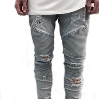 Hip-hop Men Jeans Casual Denim distressed Men's Slim Jeans pants Biker jeans skinny rock ripped jeans home