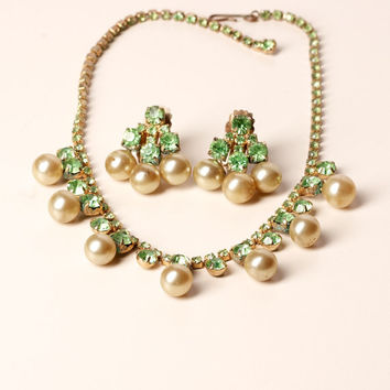 Vintage Smoky Pearl and Green Rhinestone Necklace and Clip Earrings