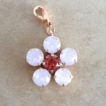 swarovski crystal flower pendant- pink- compatible with Sabika and siggy Jewelry-GREAT DEAL