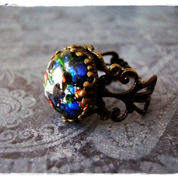 Black Opal Round Glass Cabochon Ring with an Ornate Antique Brass Filigree Band