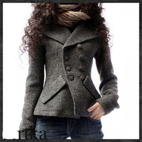 Gray Big Lapel Asymmetric Lappet Woolen Coat For Womem-NC245 | StylishLife - Clothing on ArtFire