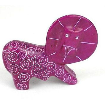Handcrafted Mini Soapstone Lion African Art Sculpture Purple