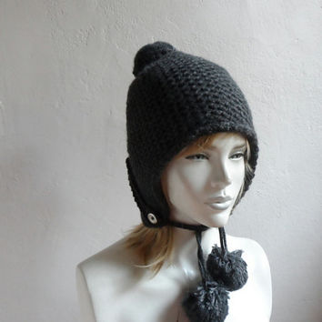 Knit Ear Flap Hat, Unisex Hat with Pompom, Gray Hat, Fleece Lined Ear Flap Hat,  Aviator Hat