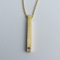 Vertical Bar Necklace - Gold