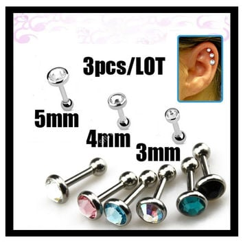 3Pcs 16G Rhinestone 316L  Steel Ear Tragus Cartilage Helix Barbell Stud Industrial Piercing Jewelry Body Free Shipping