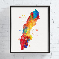 Sweden Map, Watercolor Map, Map Art Print, Country Map, Travel Print, Map Poster, Sweden Wall Art, Sweden Poster, Framed Art, Countries