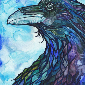 Raven 8.5 x 11 print turquoise blue purple watercolour animal spirit totem bird magic painting nature wildlife watercolor crow art artwork