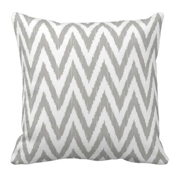 Gray Ikat Chevron Throw Pillows