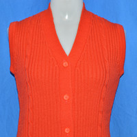 70s Red Cable Knit Sweater Vest Women's Small - Medium