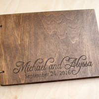 Wedding Guest book, Rustic Wedding Guest book, Guest Book Personalized, Customized, Wedding Date and names