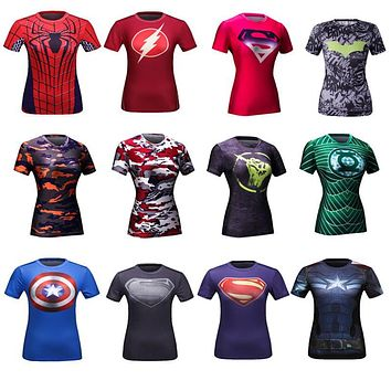 Women's Captain America Batman Superman Green Lantern 3D Printed Quick Dry Compression T-shirt Fitness Crossfit Cosplay T-Shirt