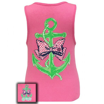 Girlie Girl Originals Anchor Bow Pearls Pink Bright Tank Top