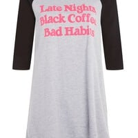 'Bad Habits Sleep' Slogan T-Shirt | Topshop