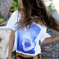 Shark Attack Off the Shoulder Tee