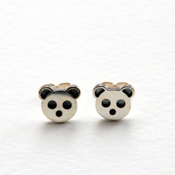 Panda Earrings, Sterling Silver, Handmade, Panda Studs, Panda Jewellery, Brighton UK