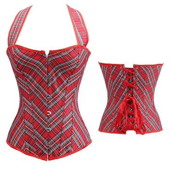 Lace Up Back Waist Training Corset Top with Strap Sexy Bustier Outwear Latex Waist Cincher Red Grid corpete corselet