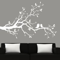 Modern White Tree Branch With Birds Vinyl Wall by couturedecals