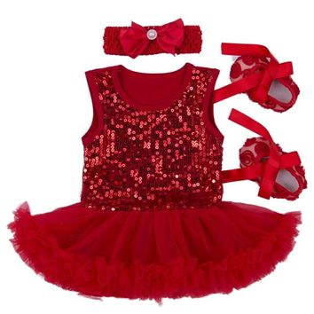 Newborn Baby Gift Set 2016 Sequin Infant Princess Dress Girl Fantasia Bebe Lace Tutu Romper headband Shoes 3pcs Baptism Dress