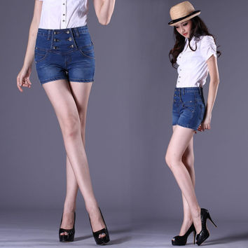 High Waist Denim Double Breasted Shaped Summer Shorts [11405207439]