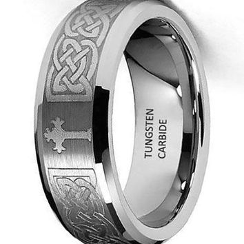 CERTIFIED 8mm Celtic Design Step Edge Tungsten Wedding Band