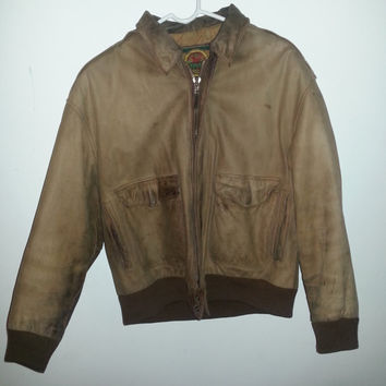 Vintage Brown Leather BOMBER FLIGHT Jacket Coat by Cayenne - Size S -