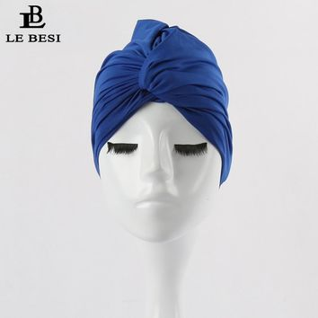 LEBESI 2017 Sexy Binder Beach Quick Dry Pleated knot Swimming Cap For Women Girls Solid Color Elastic Bathing Hat Swimming Pool