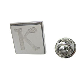 Silver Toned Etched Greek Letter Kappa Lapel Pin