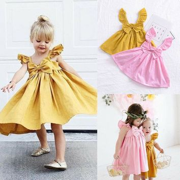 US Stock Newborn Kid Baby Girl Ruffle Bow Dress Princess Clothes Outfits Summer