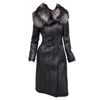 $17,500 NEW TOM FORD BLACK QUILTED LEATHER COAT W/ FOX FUR COLLAR
