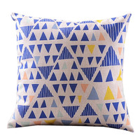 Small Triangle Design For Pillow Cotton Linen Case, Pillow Cushion Case 18 x 18 inches