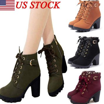 US Women Fashion Ladies Lace Up Ankle Boots Platform High Heels Winter Shoe Size